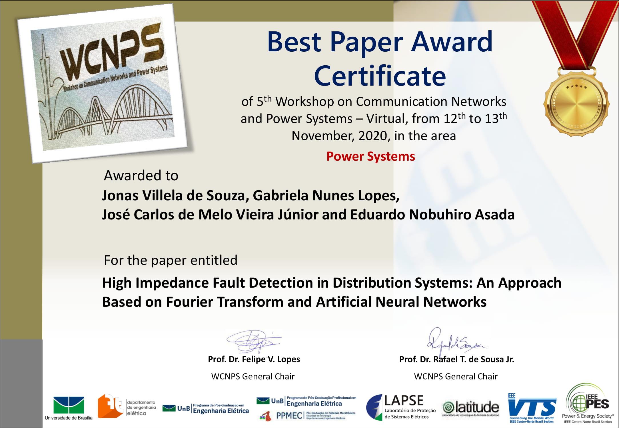 Artigo do SEL é premiado em evento da área de sistemas de energia